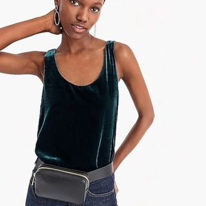 J. Crew velvet tank top in dark forest green